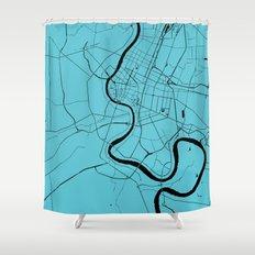 Bangkok Thailand Minimal Street Map   Turquoise And Black Shower Curtain