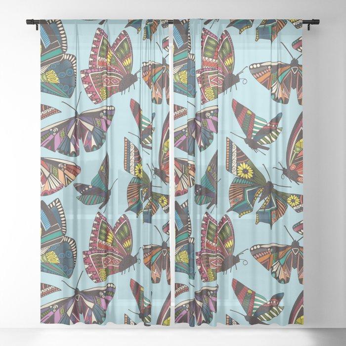 summer butterflies multi sky Sheer Curtain