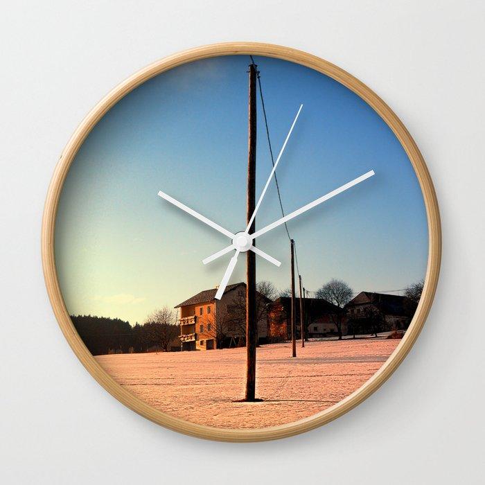 Powerline, sundown and winter wonderland | landscape photography Wall Clock