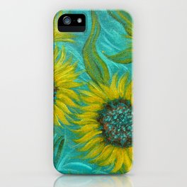 Sunflower Abstract on Turquoise I iPhone Case