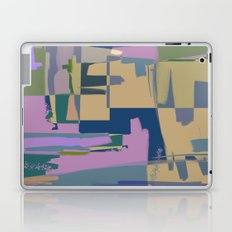 Pale Existence - Abstract, pastel purple, blue, mustard and green painting Laptop & iPad Skin