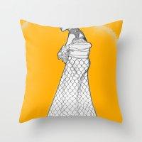 nouveau Throw Pillows featuring Nouveau by Madame Mim