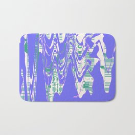 Random abstract design shapes on the blue wall Bath Mat