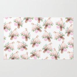 Hand painted modern pink brown watercolor peonies dove pattern Rug