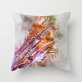 Sax watercolor Throw Pillow