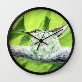 """Mom to be"" acrylic painting of a Ruby-Throated Hummingbird sitting in her nest by Teresa Thompson Wall Clock"