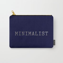Dark Navy Blue and Silver Minimalist Typewriter Font Carry-All Pouch