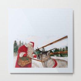 Christmas, Navidad, Noel, Moose Metal Print