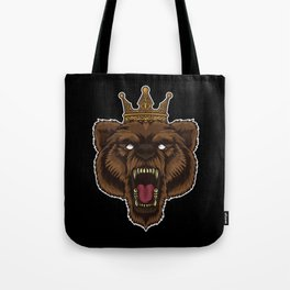 Roaring Bear With Crown | Wilderness Forest Tough Tote Bag