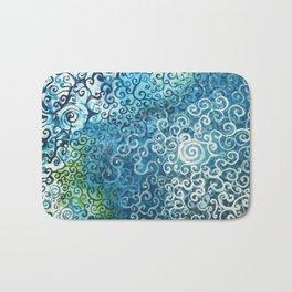 Swirly Deep Blue Sea Bath Mat