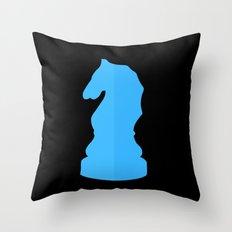 Blue Chess Piece - Knight Throw Pillow