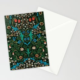 William Morris Tulips, Blue Columbine, Orchids, & Sunflowers Textile Flower Print Stationery Cards