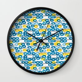 Collapsed ring pattern blue and yellow Wall Clock