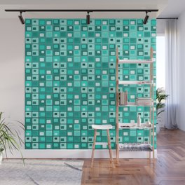 Retro Mid Century Modern Teal Square Pattern Wall Mural