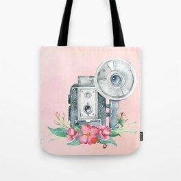 Vintage Flash Camera - Old Paparazzi in Watercolor Tote Bag