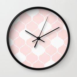 Pink Art Deco Pattern Wall Clock