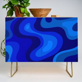 Blue Abstract Art Colorful Blue Shades Design Credenza