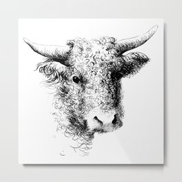 Hand drawn bull, cow, bison, bufalo head portrait   Metal Print