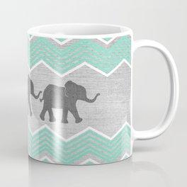 Three Elephants - Teal and White Chevron on Grey Coffee Mug