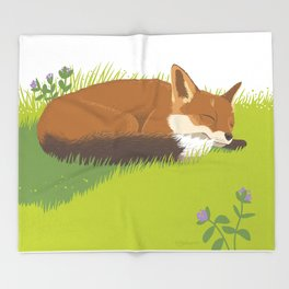 Snoozy Red Fox Throw Blanket