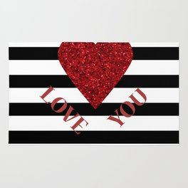 LOVE YOU Valentine print. Red glitter heart and black stripes congratulation card Rug