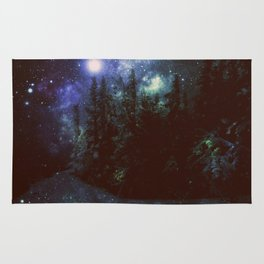 Galaxy Forest Deep Dark Blue & Green Rug