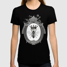 Queen Bee | Vintage Bee with Crown | Black, White and Grey | T-shirt