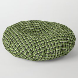 Green Plaid Black Background Floor Pillow