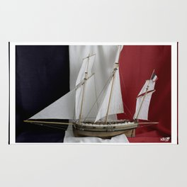 Le Coureur, french flag Rug