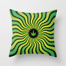Marijuana energy   Sacred geometry mandala Throw Pillow