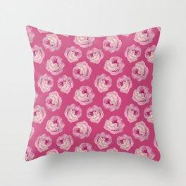 Pink Vintage Rose Pattern Throw Pillow