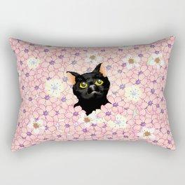 Black Cat Cherry Blossoms  Rectangular Pillow