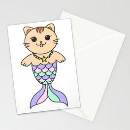 Mermaid cat, mermaid tail, baby mermaid, pastel mermaid, mercat Stationery Cards