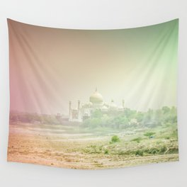 Colors of Dreamy Taj Mahal in the Morning Mist Behind the Yamuna River Wall Tapestry