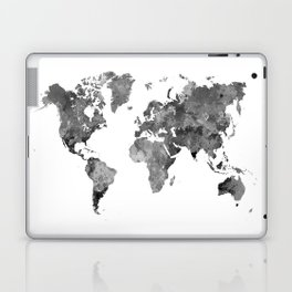 World map in watercolor gray Laptop & iPad Skin