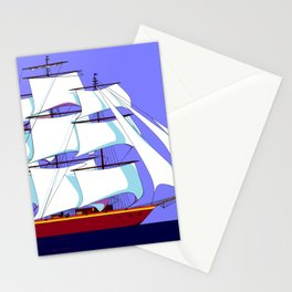 A Clipper Ship Full Sail in Still Waters Stationery Cards