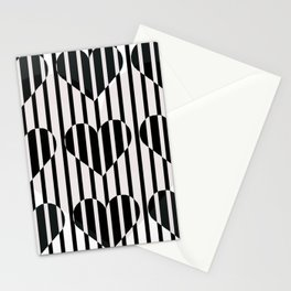 Black and White Stripe Hearts Design Stationery Cards