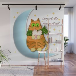 Cute cat moon valentine's day and text Wall Mural
