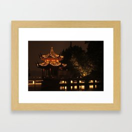 Chinese Pagoda on Lake Framed Art Print