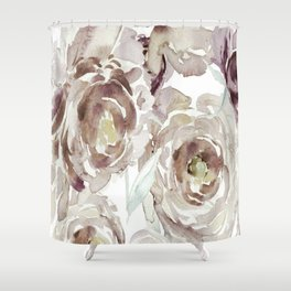 Earthy Painterly Floral Abstract Shower Curtain
