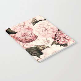 Vintage & Shabby Chic Pink Floral camellia flowers watercolor pattern Notebook