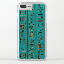 Egyptian Golden Leather hieroglyphs embossed on teal Clear iPhone Case