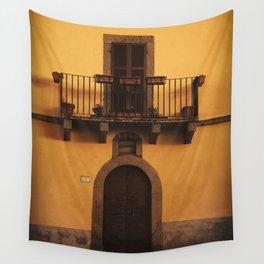 Yellow italian village house Wall Tapestry