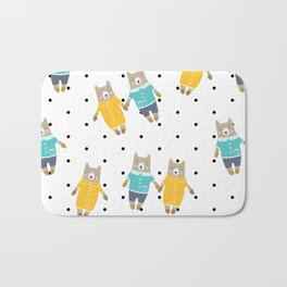 Cute bears in dotted background Bath Mat