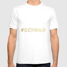 #SCHWAG White MEDIUM Mens Fitted Tee