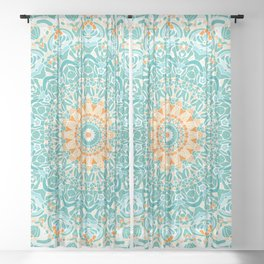 Orange and Turquoise Clarity Mandala Sheer Curtain