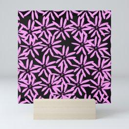 Pink Flowers Black Background #decor #society6 #buyart Mini Art Print