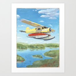 float plane - by phil art guy Art Print