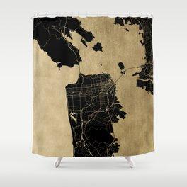 San Francisco California Black and Gold Map Shower Curtain