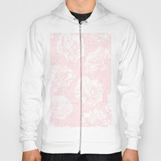 Rose Garden Pink Flamingo on White Mid-Century Lattice Hoody